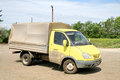 Gaz gazelle chelyabinsk region russia june yellow cargo van at the interurban road Royalty Free Stock Photo