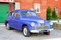 Gaz m pobeda bashkortostan russia july purple soviet motor car at the interurban road parking Royalty Free Stock Photography