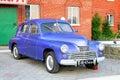 Gaz m pobeda bashkortostan russia july purple soviet motor car at the interurban road parking Royalty Free Stock Photography
