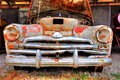 Gaz m pobeda junk car soviet motor podeda in a yard Royalty Free Stock Photos