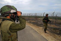 Gaza strip barrier nachal oz isr feb israeli infantry corps guards along on feb the protect israeli civilians from palestinian Royalty Free Stock Photography