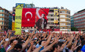 Gazdanadam fest tens of thousands people attended man made of tear gas held in kadikoy on july in istanbul turkey took about Stock Photography