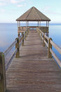 Gazebo and dock over calm sound waters vertical Stock Photography