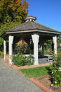 Gazebo fall garden setting with a Royalty Free Stock Photo