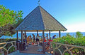 Gazebo at heisler park laguna beach california is a beautiful grassy landscaped that lies on a bluff overlooking beaches and rocky Stock Photo