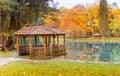 gazebo on the lake park Royalty Free Stock Photo
