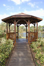 Gazebo a lakeside in a nature park Stock Photography