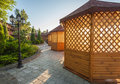 Gazebo in landscaped garden Stock Photo