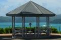 Gazebo lookout hamilton island over water Stock Photo