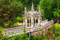 Gazebo on the ornate bridge of Quinta da Regaleira Royalty Free Stock Images