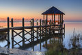 Gazebo over pamlico sound hatteras north carolina landscape of a calm summer night with the water of in at twilight Royalty Free Stock Photos