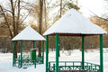 Gazebo in the park during winter sunny day Royalty Free Stock Images