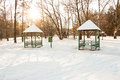 Gazebo in the park during winter sunny day Stock Image