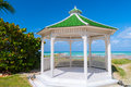 Gazebo a or pavilion with hexagonal shape with a green roof and opened by all the sides Royalty Free Stock Image
