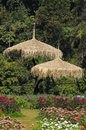 Gazebo pavilion topped with bulrush grass Stock Photo