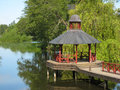 Gazebo on the stangan river linkoping sweden a in tannefors kinda kanal Royalty Free Stock Photo