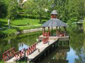 Gazebo on the stangan river linkoping sweden a in tannefors kinda kanal Stock Photography