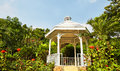 Gazebo white in flower garden Royalty Free Stock Image