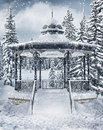 Gazebo in the winter forest vintage Royalty Free Stock Photos
