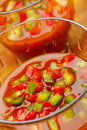 Gazpacho with chopped red and green peppers Royalty Free Stock Photo