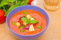 Gazpacho cold spanish soup made with tomatoes bell pepper cucumber and onion Royalty Free Stock Photography
