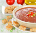 Gazpacho soup on a white table Stock Photography