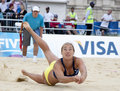 Gbr fivb international london england denise johns in action during the beach volleyball tournament at horse guards parade Royalty Free Stock Images