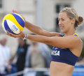 Gbr fivb international london england denise johns during the beach volleyball tournament at horse guards parade westminster Royalty Free Stock Photography