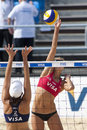 Gbr fivb international london england denise johns and heather lowe usa during the beach volleyball tournament at horse guards Royalty Free Stock Image
