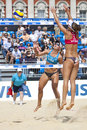 Gbr fivb international london england heather bansley elizabeth maloney can vs alejandra simon andrea garc�a gonzalo esp during Royalty Free Stock Photos