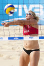 Gbr fivb international london england lucy boulton during the beach volleyball tournament at horse guards parade westminster Stock Image