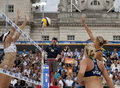 Gbr fivb international london england lucy boulton denise johns vs heather bansley elizabeth maloney can during the beach Stock Photos