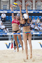 Gbr fivb international london england lucy boulton denise johns vs tealle hunkus heather lowe usa during the beach volleyball Stock Image