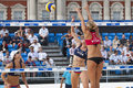 Gbr fivb international london england lucy boulton denise johns vs tealle hunkus heather lowe usa during the beach volleyball Stock Photography