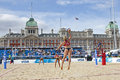 Gbr fivb international london england lucy boulton denise johns vs tealle hunkus heather lowe usa during the beach volleyball Stock Images