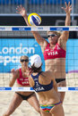 Gbr fivb international london england lucy boulton denise johns vs tealle hunkus heather lowe usa during the beach volleyball Royalty Free Stock Photography