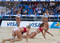 Gbr fivb international london england shauna mullin zara dampney vs alejandra simon andrea garcía gonzalo esp during the beach Royalty Free Stock Photo