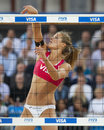 Gbr fivb international london england zara dampney during the beach volleyball tournament at horse guards parade westminster Stock Photos