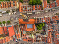 Gdańsk from the air. The old town from the bird`s eye view. View of the Long streets, the Long Market and the histori
