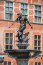 Gdansk city in pomerania region poland famous neptune fountain at dlugi targ square Stock Images
