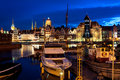 Gdansk harbor at night, Poland Royalty Free Stock Photo