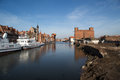 Gdansk harbor poland march ships in and historic city of danzig in Stock Image