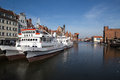 Gdansk harbor poland march ships in and historic city of danzig in Stock Photography