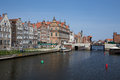 Gdansk harbor poland may historic city of danzig in Stock Image