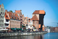 Gdansk houses of Old Town Gdansk Harbor, Motlawa river. Famous Zuraw crane Royalty Free Stock Photo