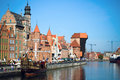 Gdansk Old Town. Gdansk Harbor, Motlawa river. Famous Zuraw crane Royalty Free Stock Photo