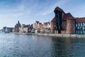 Gdansk old town poland the crane over motlawa river in Royalty Free Stock Photos
