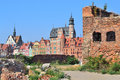 Gdansk old town polish republic ruins of historic buildings on the island warehouses Royalty Free Stock Photo
