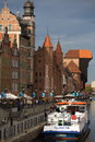 Gdansk Old Town and the river Motlawa Stock Photos