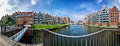Gdansk panorama old town the view from the bridge over the river cow motlawa Royalty Free Stock Photo